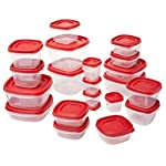 Rubbermaid Easy Find Lids Food Storage Containers, Racer Red, 42-Piece Set 1880801 8 Plastic food storage containers feature Easy Find Lids that snap on to container bases as well as same size lids, so you can always find lids when you need them, and your cabinets stay organized Great for fridge and cabinet storage, crafts, and more Nests easily with other containers for compact storage