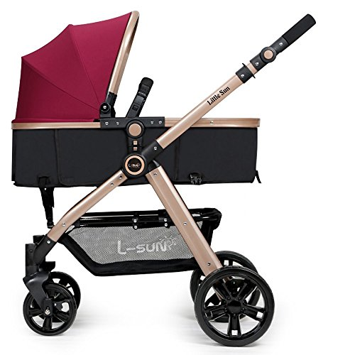 WAWDZG Stroller High Landscape Can Sit Or Lie Two-Way Portable Baby Baby Car Trolley Four Seasons Deck Baby Carriage (Color : Red)