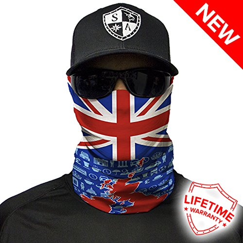 SA Company Face Shield Micro Fiber Protect from wind, dirt and bugs (United Kingdom Graphic Flag) (Graphic Dirt)