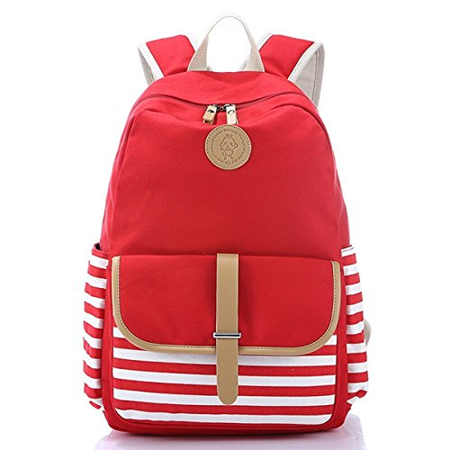 Unisex Stylish Preppy Student School Backpack Travel Bags Knapsack (Rose Red) - 2