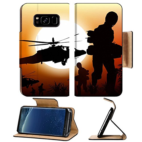 Luxlady Premium Samsung Galaxy S8 Plus S8+ Flip Pu Leather Wallet Case IMAGE ID 25191999 Soldiers in Action Marine and Helicopters Sunset Silhouette Background Illustration