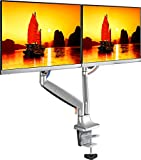 ONKRON Dual Monitor Desk Mount Stand for 23' - 32' LCD LED Monitors up to 19.8 lbs G200 Silver