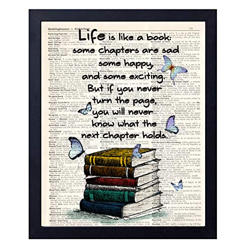 (akeke Book Lover Gift Old Book Art Print, Literary Quotes Gift Ideas for Book Lover, Book Quote Wall Art Decor 8x10 Unframed)
