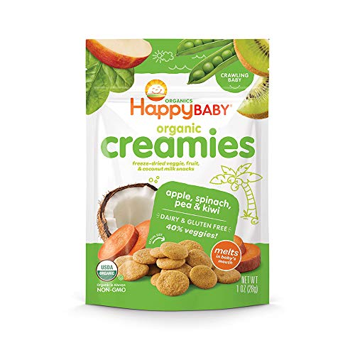 (Happy Baby Organic Creamies Freeze-Dried Veggie & Fruit Snacks with Coconut Milk Apple Spinach Pea & Kiwi, 1 Ounce Bag (Pack of 8) (Packaging May Vary))