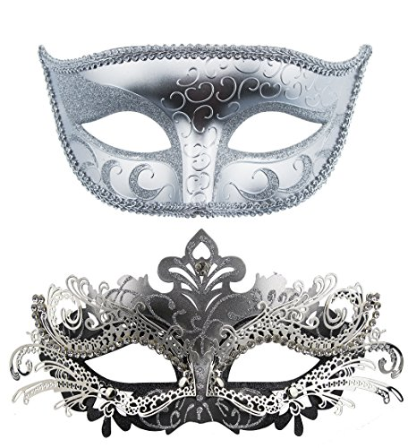 [Couple Masquerade Metal Masks Venetian Halloween Costume Mask Mardi Gras Mask (Sliver+Sliver-Black)] (Halloween Costumes With Mask)