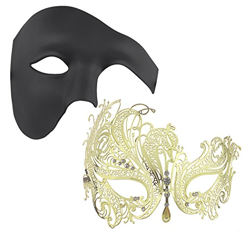 Coddsmz 2 Pack Set Masks Masquerade Ball Halloween Costumes Mardi Gras Party Mask for Men and Women -