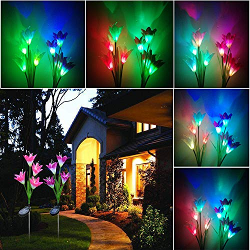 Clearance Sale!DEESEE(TM)Discoloration 4 Solar Lily LED Solar Flower Light 2 Pack (Red and Purple) ()