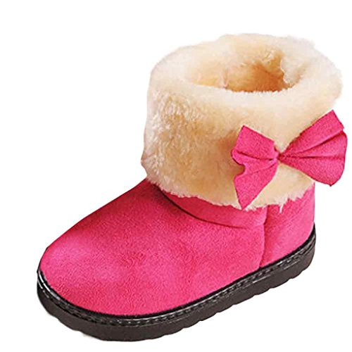 HP95(TM) Fashion Winter Baby Girl Cotton Boot Warm Snow Boots with Bowknot (US:9-9.5, Hot (Hot Girls Boots)