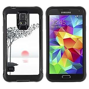 Paccase / Suave TPU GEL Caso Carcasa de Protección Funda para - Art Leaves Birds Black White Red Sun - Samsung Galaxy S5 SM-G900
