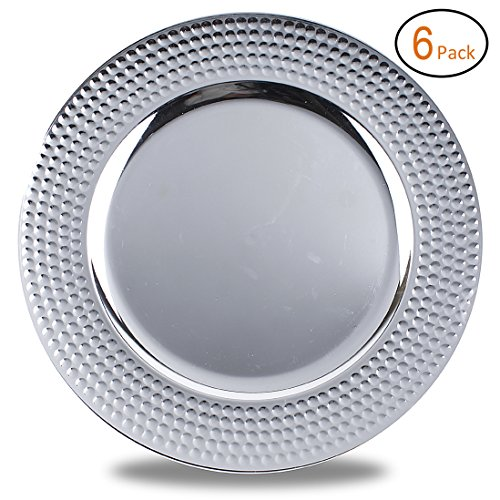 FANTASTIC :)  Round 13 Inch Plastic Charger Plates with Metallic Finish (6, Hammer Edge Silver) -