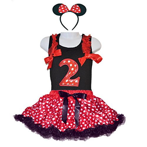 Birthday Mouse Costumes Polka Tutu Year Number Top & Headband (Small-Age 2) (Tutu Minnie Mouse)