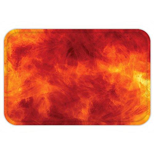 Costumes Patterns Burning (VROSELV Custom Door MatOrange Burnt Orange Decor Graphic of Fire Explosion Bright Vibrant Hot FlameHeat Burning Theme Decor Orange Yellow)