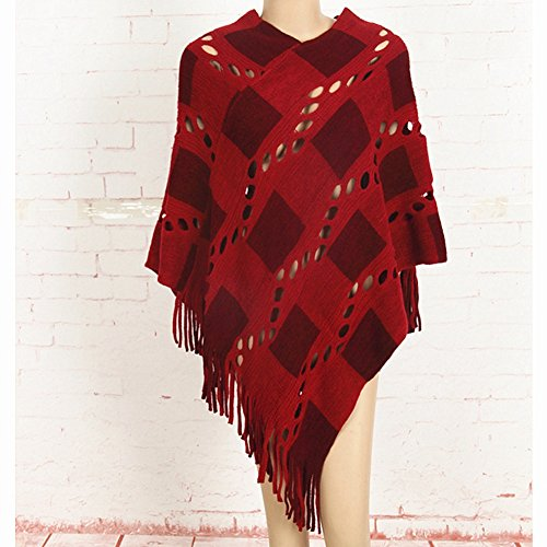 Out Maglioni Pullover Plaid Donna LvRao Mantelle Cremisi Nappa Poncho Hollow EYOxn7q