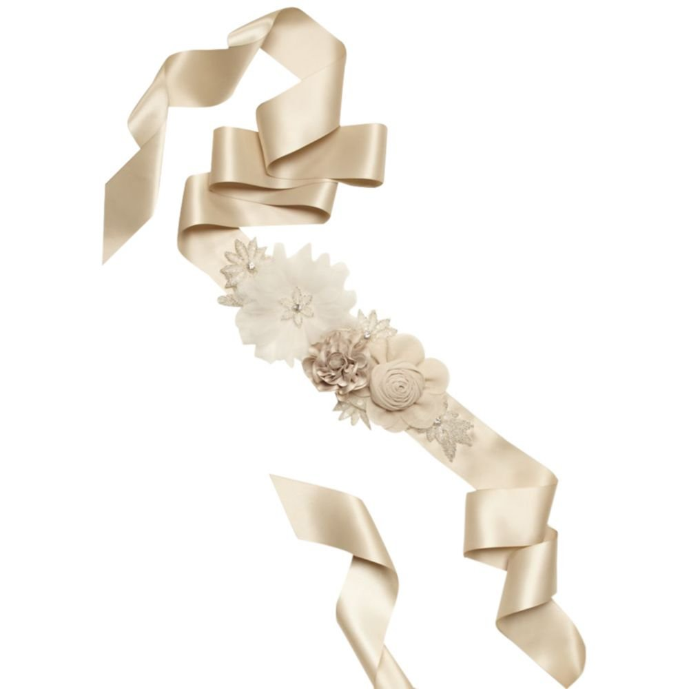 David's Bridal Mixed Media Floral Sash Style S1073, Champagne