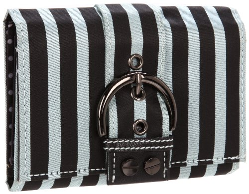 Sydney Love Stripe Collection Wallet,Silver/Black,One Size, Bags Central