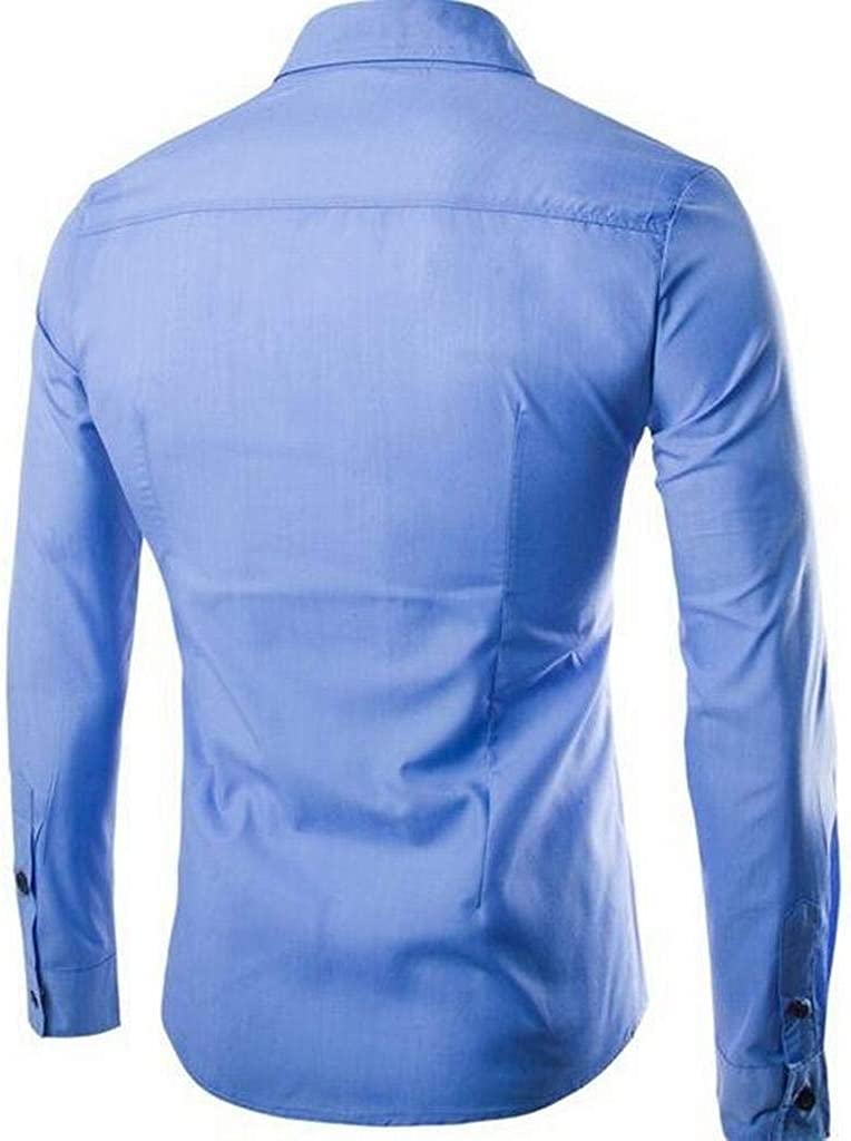 ARTFFEL Mens Regular Fit Contrast Casual Long Sleeve Button Up Dress Shirts