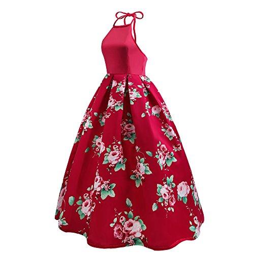 d0dd4ad0f6a6 ... Kleider Damen Festlich Elegante Sommerkleid Spleiß Ärmellos Neckholder  Rückenfrei Blumen Cocktailkleid Abendkleider Lang Vintage Modisch Maxikleid  ...