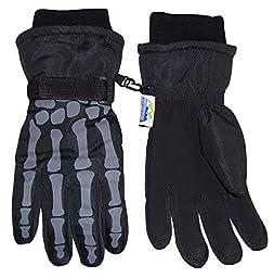N\'Ice Caps Boys Skeleton Print Waterproof Reflector Glove (13-15yrs)