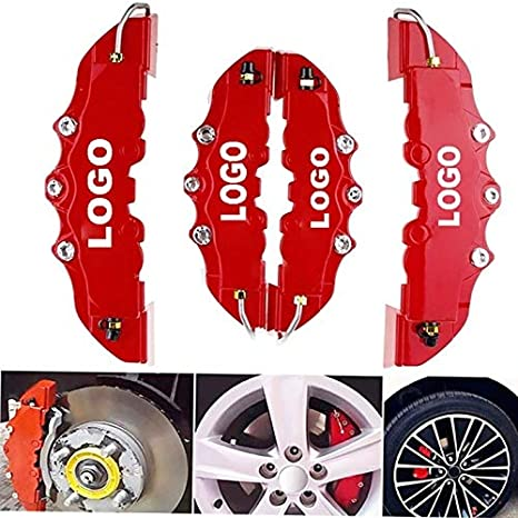 FJY-BRAKES DISC ROTORS 4PCS Car Disc Brake Caliper Cover 3D Word Red Brake Cover Fit To 14-17 Inches Car 2 M And 2 S Universal Kit For Brembo