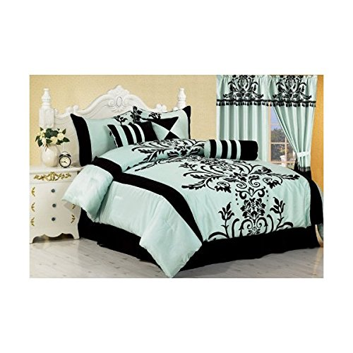 Blue and Black Floral Flocking Bed-in-a-Bag Comforter Set, King