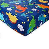 Crib Sheet Toddler Sheet 1 Pack 100% Cotton for Baby boy Dinosaur Pattern Crib Sheet by UOMNY