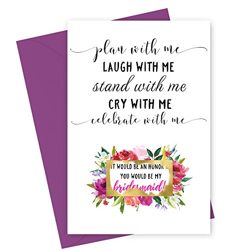 Mod Floral Will You Be My Bridesmaid Scratch Off Cards (6 Pack) Plan With Me Maid of Honor (Mod Invite)