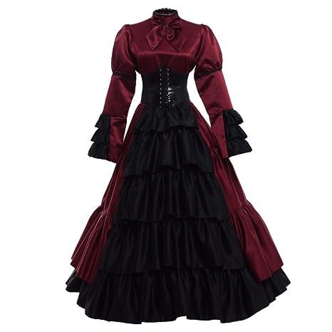 GRACEART Victoriano Gótico Disfraz de Reina Medieval Vestido de Fiesta Vestido de cóctel Vintage Vestido de Fiesta (S, Vino Rojo)