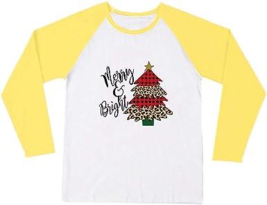 K-Youth Camiseta Mujer Navidad 2019 Oferta Ropa para Mujeres Camisetas de Manga Larga Mujer Talla Grande Camisas Estampado Blusas de Fiesta de Mujer Shirts Pullover Blusa Tops: Amazon.es: Ropa y accesorios