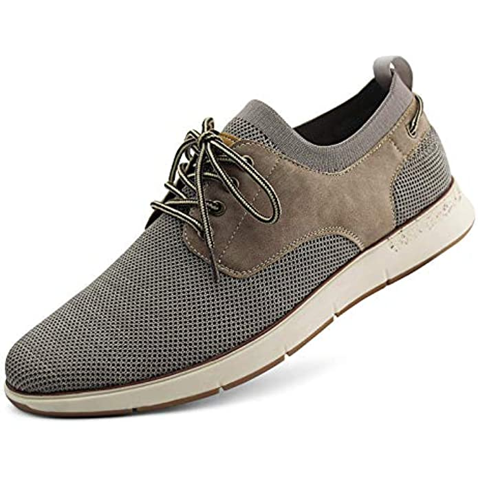 JABASIC Mens Knit Sneakers Breathable Casual Walking Oxford Shoes