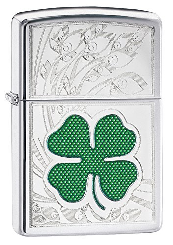 Zippo Clover Design Pocket Lighter, High Polish Chrome