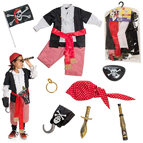 Dress 2 Play Pirate Pretend Costume, 10 Piece Dress up Set with Accessories -
