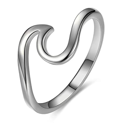 2b50bed397643 Bamos Minimalism 925 Sterling Silver Wave Ring for Girls Daily Wear(Silver  10)