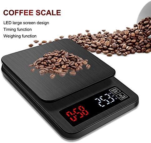 PRWJH Bilancia da Cucina elettrica, con Bilancia pesapersone con Timer a Mano, Bilancia da caffè Digitale LCD, Bilancia da Cucina per Uso Domestico, 5 kg / 1G