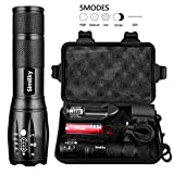 T6 Upgrade L2 CREE,1200 Lumens LED Torch,5 Modes Zoomable Waterproof Tactical Flashlight with USB Charger,18650 Rechargeable Battery,Cycling Handlebar Mount,Flashlight Holste