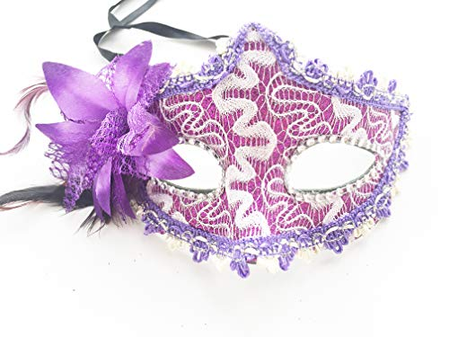 Masquerade Mask for Women Venetian Lace Masks Masquerade Party Flower Cosplay Masks Purple]()