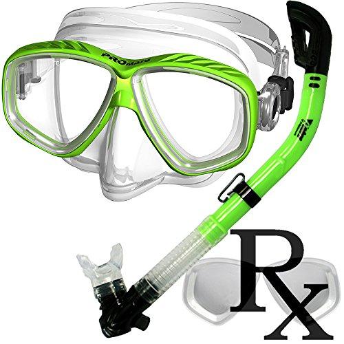 (Prescription Purge Mask Dry Snorkel Snorkeling Scuba Diving Combo Set, Green)