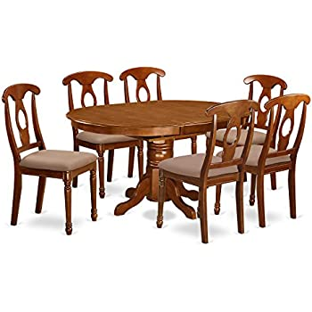 East West Furniture AVNA7 SBR C 7 Piece Dining Table Set. Amazon com  East West Furniture AVAT7 BLK W 7 Piece Dining Table