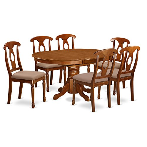 East west furniture avna7 sbr c 7 piece dining table set for 7 piece dining room sets cheap