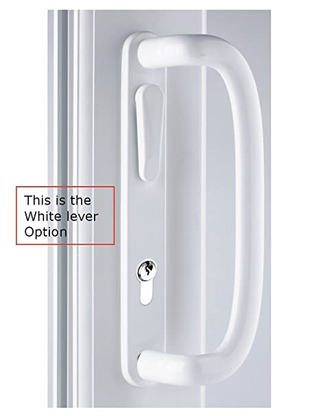mila inline patio door handle white 109mm screw fix locking