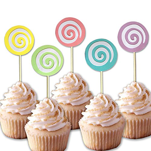 25-pac Rainbow Lollipop Cupcake Toppers Picks, colorful Cake Toppers for Kids Baby Shower Birthday Party Cake Decoration Supplies