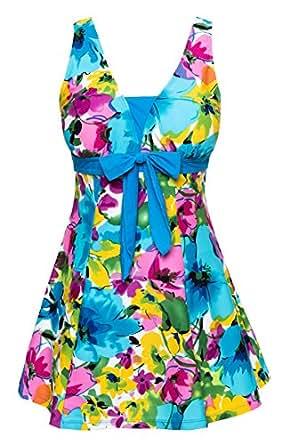 Wantdo Women's Floral Swimdress Modest Swimwear Slimming