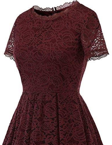 Corta Fijo Verano Largo Liches Granate Ball Cóctel Cuello Redondo Vestido Manga Mujer Elegante Dresstells Xw1FqF
