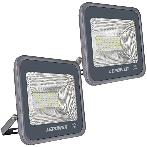 LEPOWER 2 Pack 100W LED Flood Light, 10000lm Super Bright Work Light with Plug, 6000K White Light, IP66 Waterproof Outdoor Floodlight for Garage, Garden, Lawn,Basketball Court,Playground