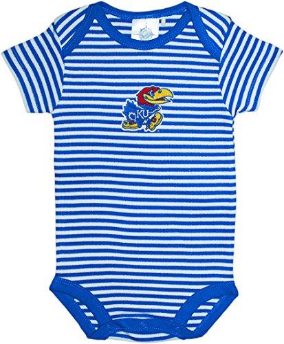 (Creative Knitwear Kansas University Jayhawks Striped Baby Bodysuit Blue)