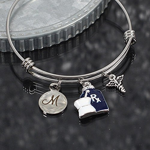 Pharmacist Expandable Stainless Steel Bangle Bracelet with Initial and Caduceus (Initials Stainless Steel Bracelet)