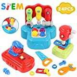 GILOBABY Kids Learning Tool Set with Lights and Sounds, Pretend Playset Construction Tool STEM Building Toys for Toddler Boys and Girls Age 2+