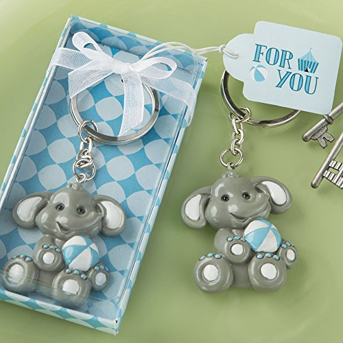 Adorable Baby Elephant with Blue Design Key Chain, 48 ()