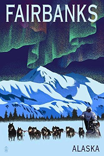 Fairbanks, Alaska - Northern Lights and Dog Sled - Lithograph (12x18 Fine Art Print, Home Wall Decor Artwork Poster) ()