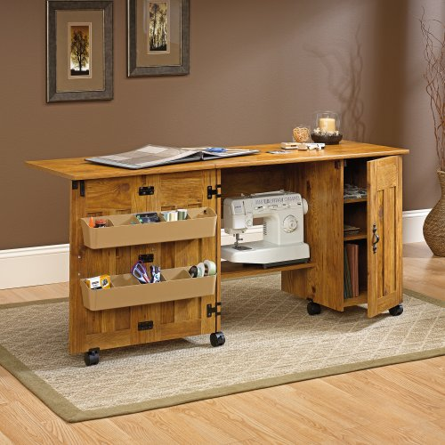 Sauder Office Furniture Sewing & Craft Cart/Table with Dr...