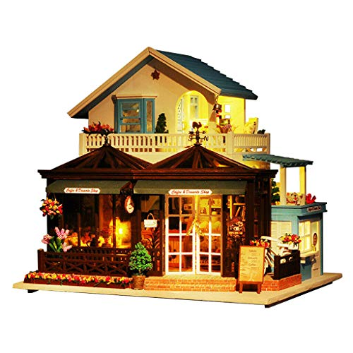 NATFUR 3D Wood Dolls House Furniture Accessories Kit LED Music Box - Carving Time